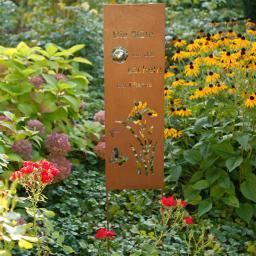 Gartenstecker lächelnde Blüte, 120x5x25 cm, Metall, Rostoptik