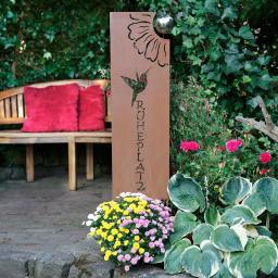 Gartenstecker Ruheplatz, 128x8x25 cm, Metall, Rostoptik