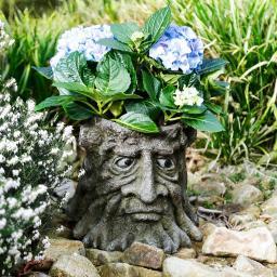 Pflanzkübel Baumstumpfgesicht Grimmi, 25x27,5x27,5 cm, braun