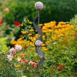 Gartenstecker Spirale, 140x10x12 cm, Edelstahl, grau