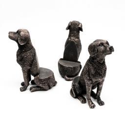 Kübelfuß Bronzeoptik 3er-Set Hündchen, 8,5x5,5x11,5 cm