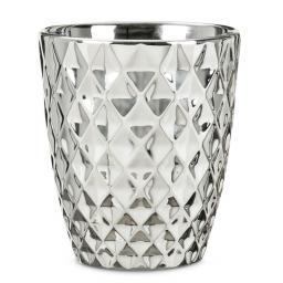 Keramik-Orchideengefäß, Struktur, rund, 14,5x13x13 cm, silber