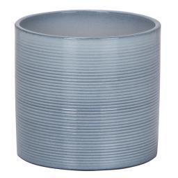Keramik-Übertopf, rund, 17,1x19x19 cm, Washed Denim
