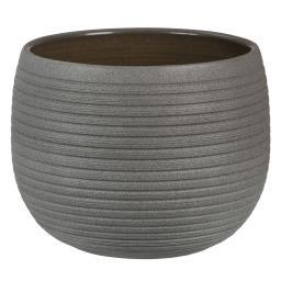 Keramik-Übertopf, rund, 15,5x21x21 cm, Umber Stone