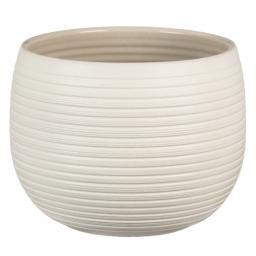 Keramik-Übertopf, rund, 15,5x21x21 cm, Cream Stone