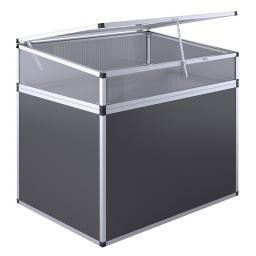 KGT Aluminium-Hochbeet 130, anthrazit/silber,  mit Frühbeetaufsatz, 121x91x109 cm