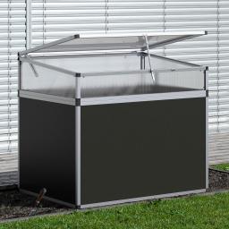 Aluminium-Hochbeet 130, anthrazit/silber,  mit Frühbeetaufsatz, 121x91x109 cm