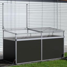 Aluminium-Hochbeet 210, anthrazit/silber, mit Frühbeetaufsatz, 205x91x109 cm