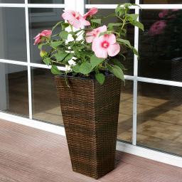 Outdoor-Rattan-Pflanzkübel mit Bewässerungssystem, konisch, 64x31x31 cm, kaffee braun