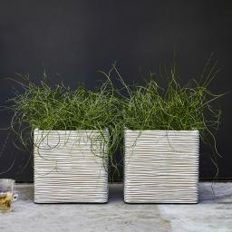 Pflanzkübel RIB quadratisch, 40x40x40 cm, elfenbein