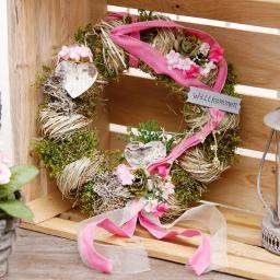 Pinker Frühlingskranz mit Herz, 28 cm