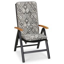 Hochlehner Auflage Porto, Rautendesign, 120x50x6 cm, grau