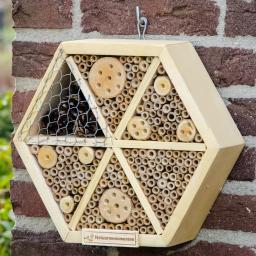 Insektenhotel Hexagon, 8 x 28 x 25 cm, Holz, natur