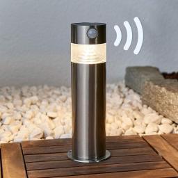 Solar-LED-Sockelleuchte Kalypso mit Bewegungsmelder, 30x7,6x7,6 cm, Edelstahl, silber