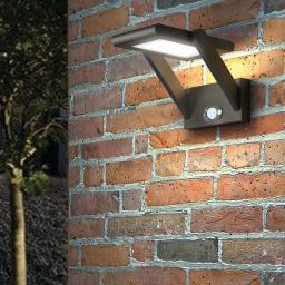 Solar-LED-Außenwandleuchte Valerian mit Bewegungsmelder, 16x23,3x15,2 cm, Aluminium, grau