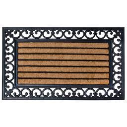 Esschert Design Fußmatte Viktoria, 1,8x76x45 cm, Gummi, Kokos, schwarz