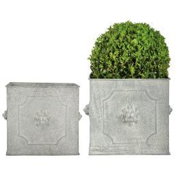 Esschert Design Pflanzkübel Rom, 2er-Set eckig, Stahl, weiß