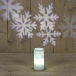 LED-Projektionslampe Schneeflocken, Kunststoff, weiß