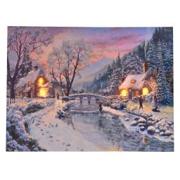 LED-Bild Schneelandschaft, 40x30 cm, Leinwand Holz, bunt