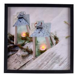 LED-Bild Laternen im Schnee, 38x38x2 cm, Leinwand und Holz