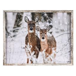 LED-Bild Rehe, 48x38x2 cm, Leinwand und Holz, braun