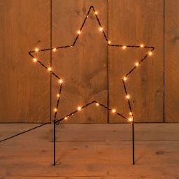 Micro-LED-Gartenstecker Stern, 36x40 cm, Metall, schwarz