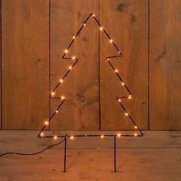 Micro-LED-Gartenstecker Tannenbaum, 50x37 cm, Metall, schwarz