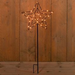 Micro-LED-Gartenstecker Winterstern, 70x34x34 cm, Metall, schwarz