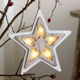 LED-Fensterdeko Stern, 20x20x2 cm, Holz und Kunststoff, weiß