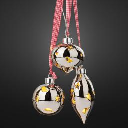 LED-Keramik-Kugeln 3er-Set, Keramik, silber