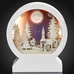 LED-3D-Bild Winterliche Kirche, 17,7x6,7x20 cm, weiß