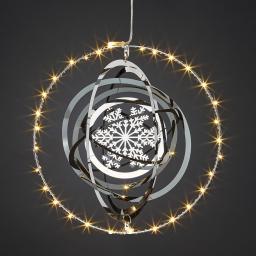 LED-Fensterdeko 3D-Kugel, 20 cm, Metall, silber