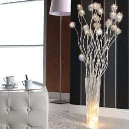 LED-Zweige mit Kugelblüten, 12er-Set, 120 cm, silber