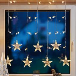 LED-Lichtervorhang Sterne, 120x100 cm, Kunststoff, gold