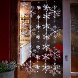 LED-Lichtervorhang Schneeflocken, 150x120 cm, Kunststoff, weiß
