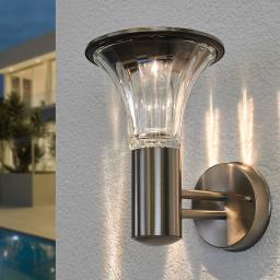 Solar-LED-Außenwandleuchte Eileen, 25x17x23 cm, Edelstahl, silber