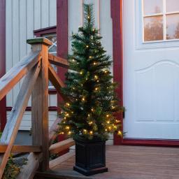 Künstlicher LED-Außen-Tannenbaum Hytte, 120x50x50 cm, Kunststoff, grün