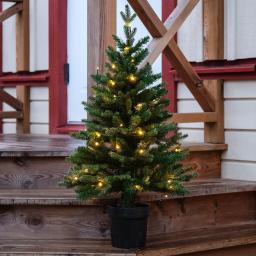 Star Künstlicher LED-Außen-Tannenbaum Byske, 90x55x55 cm, Kunststoff, grün