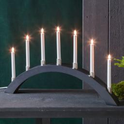Star LED-Fensterleuchter Tall Bow, 67x40x6 cm, Holz, schwarz