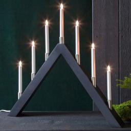 Star LED-Fensterleuchter Tall A, 66x63x7 cm, Holz, schwarz