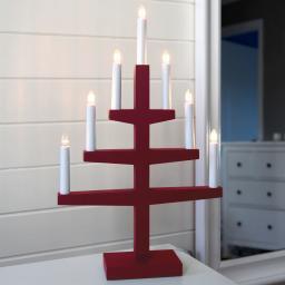 Fensterleuchter Trapp, 54x34x9 cm, Holz und Kunststoff, rot