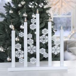 Star LED-Fensterleuchter Snowfall, 46x8x48cm, Holz, weiß