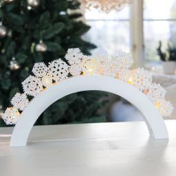 LED-Leuchtbogen Snowfall, 41x5x22cm, Holz, weiß