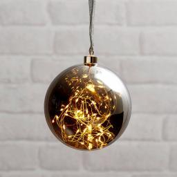 Star LED-Glaskugel Smoky Glow, 15cm, Glas, amber