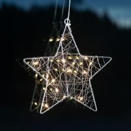 LED-Fensterdeko Wiry Stern, 21x20x2 cm, Metall, silber
