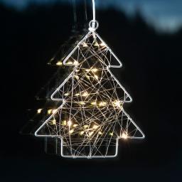 Star LED-Fensterdeko Wiry Tannenbaum, 202x17x2 cm, Metall, silber