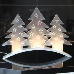 LED-Tischdekoration Plexi Trees, 40x5x29 cm, Kunststoff, transparent
