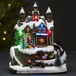 LED-Weihnachtsszene Trainville, 19x15x22 cm, Kunststoff, bunt
