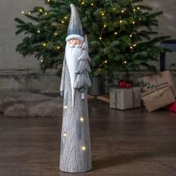 Star LED-Weihnachtsmann Klas, 70x14x14 cm, Keramik, grau