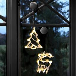 Star LED-Fenstersilhouette 2er-Set, Tanne und Rentier, Kunststoff, weiß